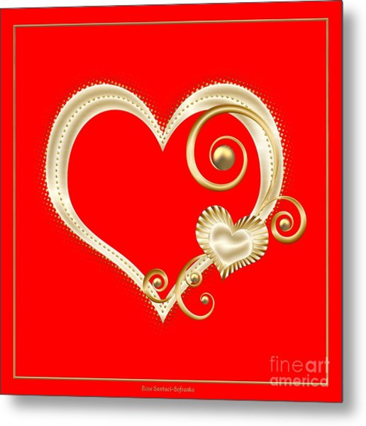 Metal Print featuring the digital art Hearts In Gold And Ivory On Red by Rose Santuci-Sofranko