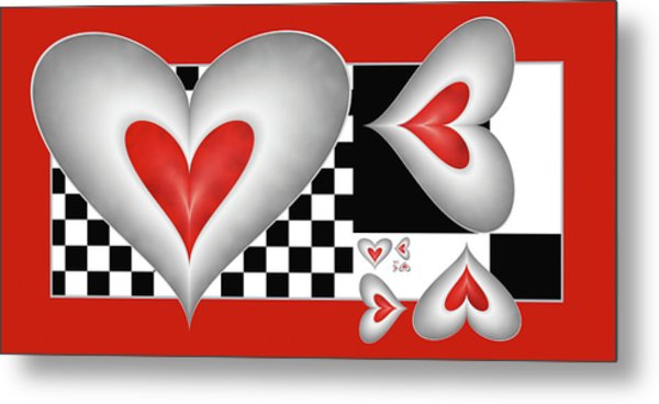 Hearts On A Chessboard Metal Print