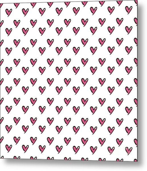 Hearts Seamless Pattern. Cute Doodle Metal Print