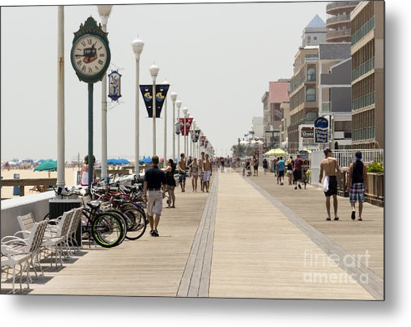 Heat Waves Make The Boardwalk Shimmer In The Distance Metal Print