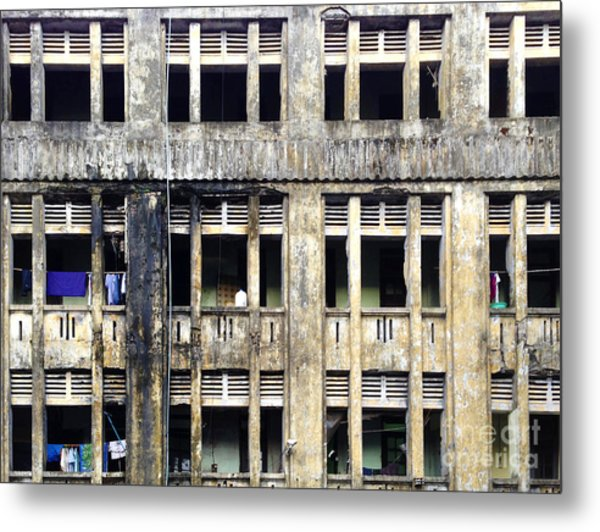 Heavy Pollution Takes Its Toll On Buildings Sule Pagoda Road Yangon Burma Metal Print by PIXELS  XPOSED Ralph A Ledergerber Photography