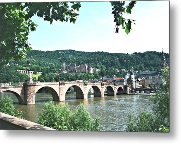 Heidelberg Schloss Overlooking The Neckar Metal Print