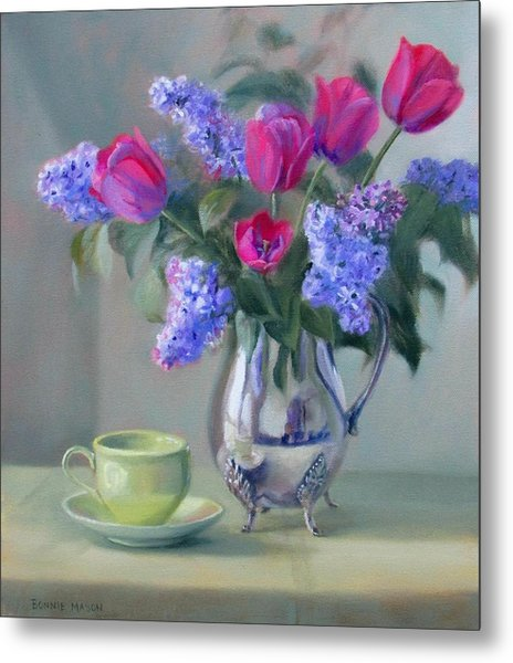 Heirlooms- Lilacs And Tulips In A Silver Pitcher Metal Print