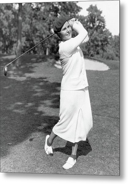 Helen Hicks Playing Golf Metal Print by Acme