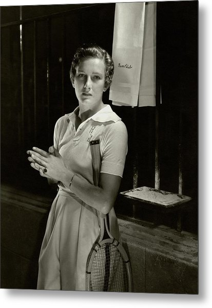 Helen Jacobs Holding A Tennis Racket Metal Print by Edward Steichen