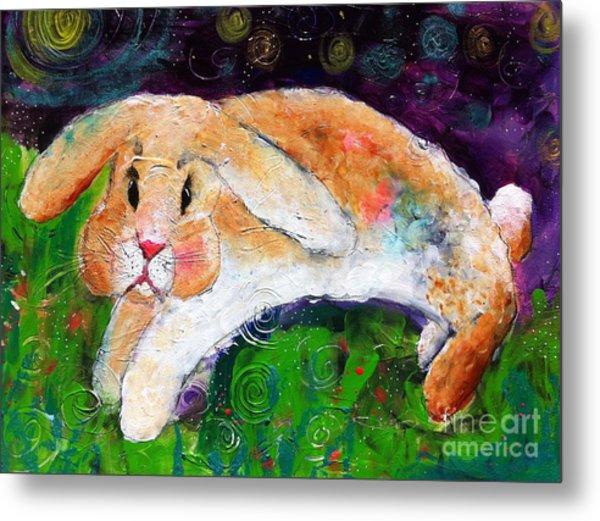 Helen's Birthday Rabbit In Glastonbury Metal Print