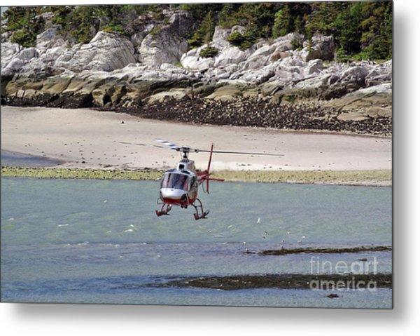 Helicopter Landing In Skagway Metal Print