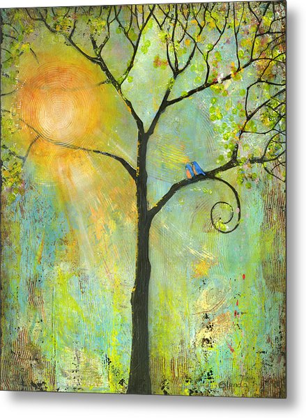 Hello Sunshine Tree Birds Sun Art Print Metal Print