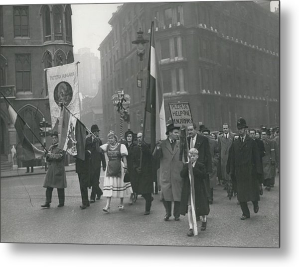 �help Hungary� Parade In Streets Of London Metal Print by Retro Images Archive