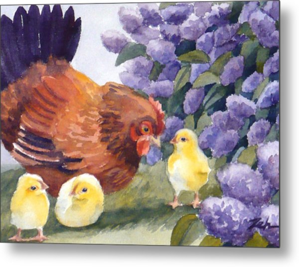 Hen And Chicks Among The Lilacs Metal Print