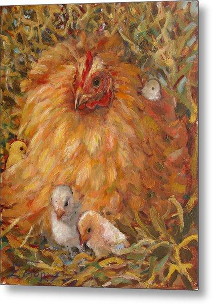 Hen And Chicks Metal Print