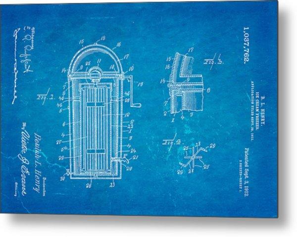 Henry Ice Cream Freezer Patent Art 1912 Blueprint Metal Print