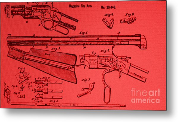 Henry Rifle Patent Drawing Metal Print