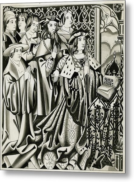 Henry Vi And His Court At  Prayer Metal Print by Mary Evans Picture Library