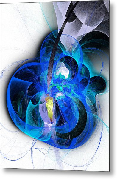 Her Heart Is A Guitar Blue Metal Print