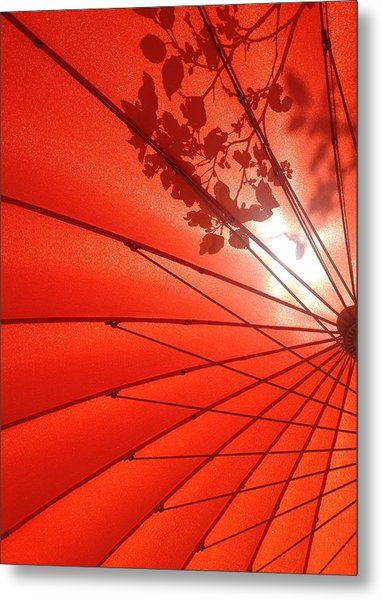 Her Red Parasol Metal Print