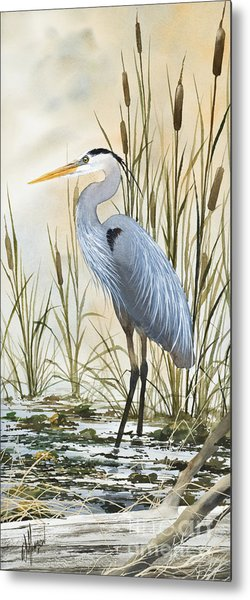 Heron And Cattails Metal Print
