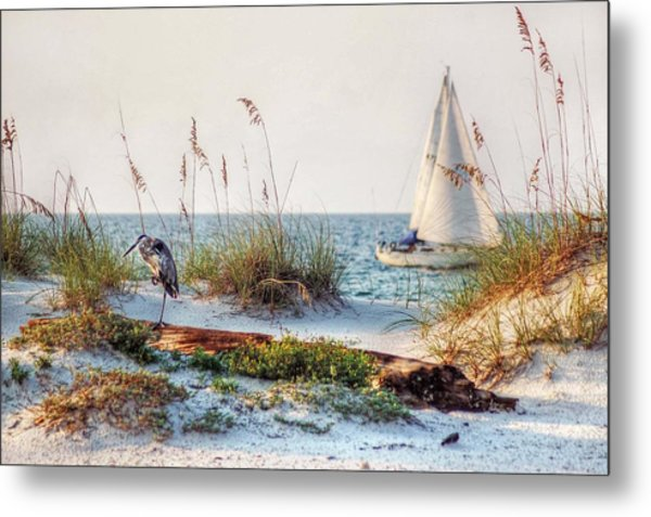 Heron And Sailboat Metal Print