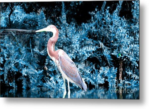 Heron In Blue Metal Print