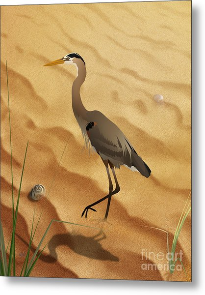 Heron On Golden Sands Metal Print