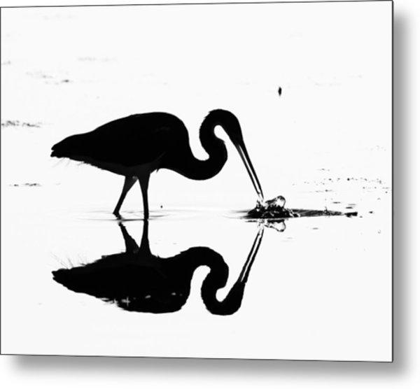 Heron Silhouette Metal Print by Brian Magnier