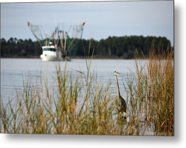 Heron Wading With Passing Shrimp Boat Metal Print