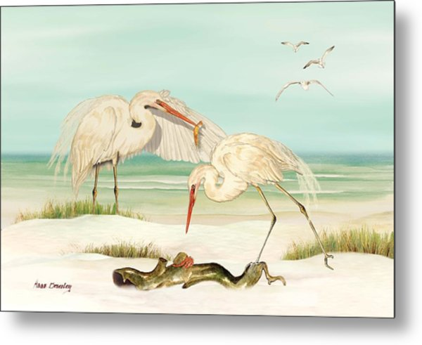 Herons Fishing Metal Print