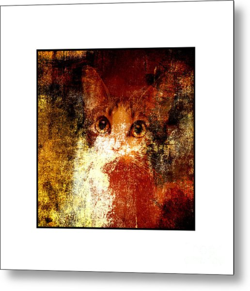 Hidden Square White Frame Metal Print