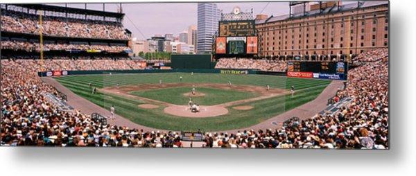 High Angle View Of A Baseball Field Metal Print