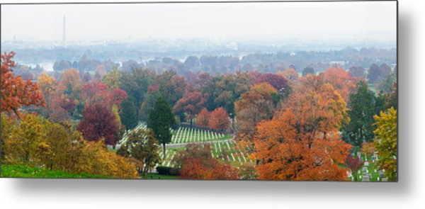 High Angle View Of A Cemetery Metal Print