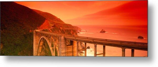 High Angle View Of An Arch Bridge Metal Print