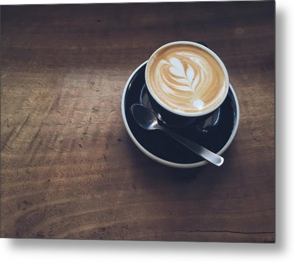 High Angle View Of Cappuccino On Wooden Metal Print by Eujin Goh / Eyeem