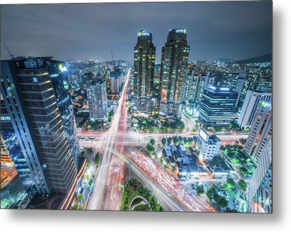 High Angle View Of Cityscape Lit Up At Metal Print by Gangil Gwon / Eyeem