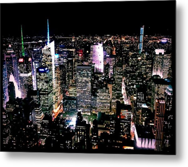 High Angle View Of Cityscape Lit Up At Metal Print by Paolo Tahalele / Eyeem