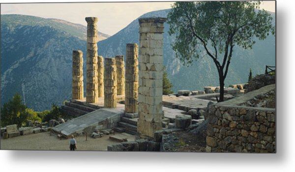 High Angle View Of Ruined Columns Metal Print
