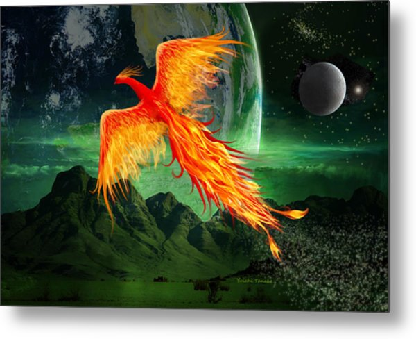High Flying Phoenix Metal Print