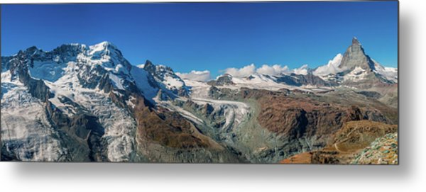 High Mountains Of Pennine Alps In Metal Print