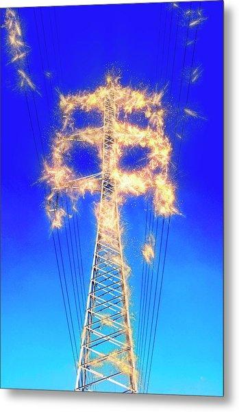 High Voltage Power Lines Metal Print