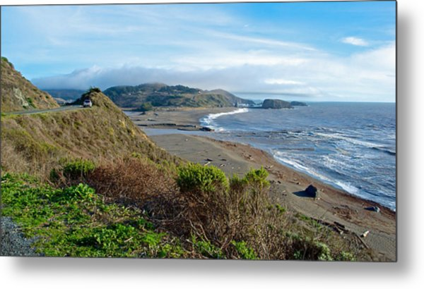 Highway 1 Near Outlet Of Russian River Into Pacific Ocean Near Jenner-ca  Metal Print