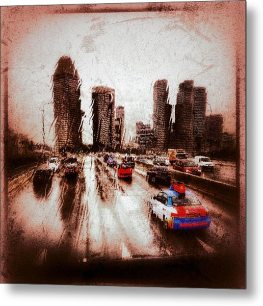 Metal Print featuring the photograph Highway City by Yen