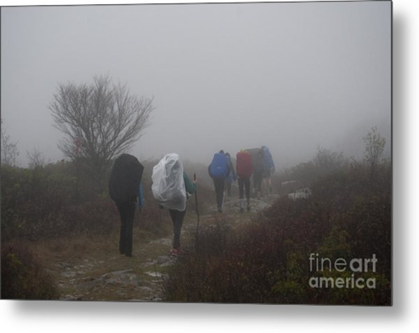 Hikers Going Into The Fog At Dolly Sods Metal Print by Dan Friend