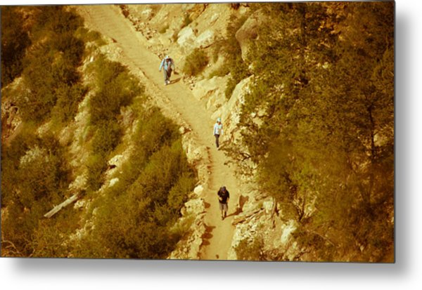 Hikers In Canyon Metal Print by Nickaleen Neff