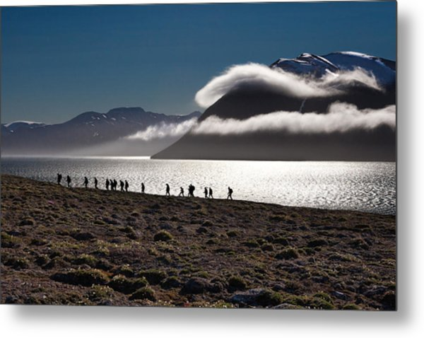 Hikers In The High Arctic Metal Print
