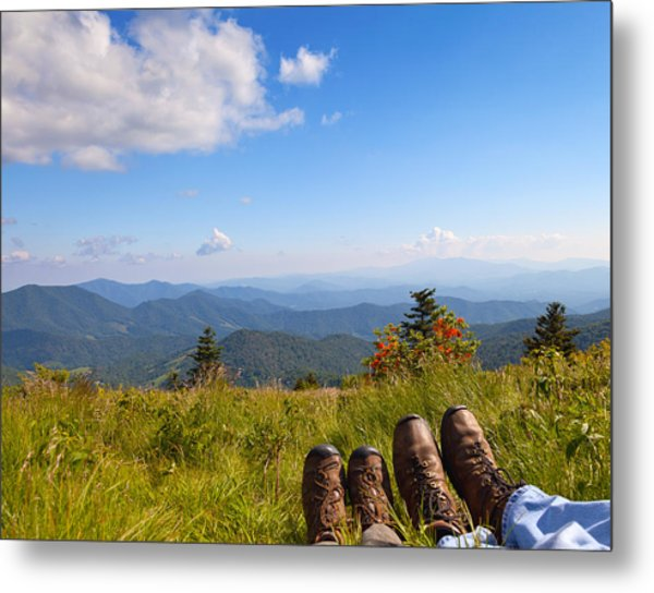Hikers With A View On Round Bald Near Roan Mountain Metal Print