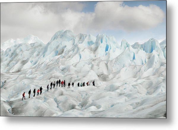 Hiking On Perito Moreno Metal Print