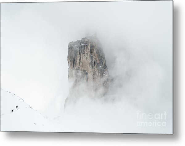 Hiking The Tre Cime In Winter Metal Print