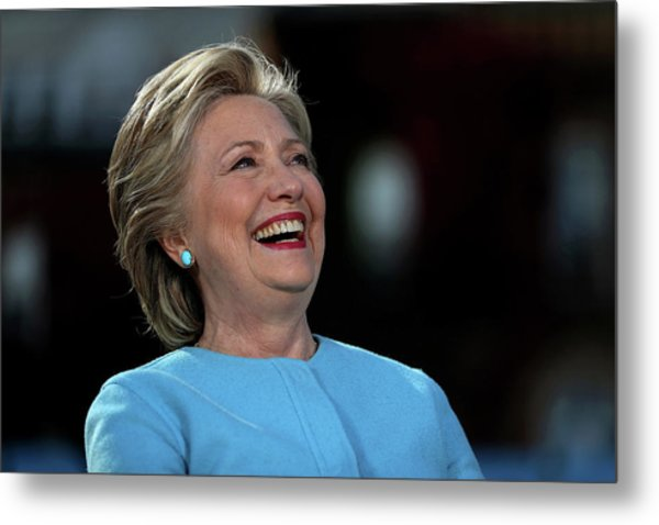 Hillary Clinton Is Joined By Maggie Metal Print