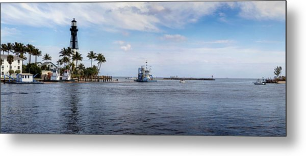 Hillsboro Inlet Lighthouse Panorama Metal Print