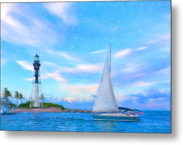 Hilsboro Lighthouse Colored Pencil Metal Print by Michael  Wolf