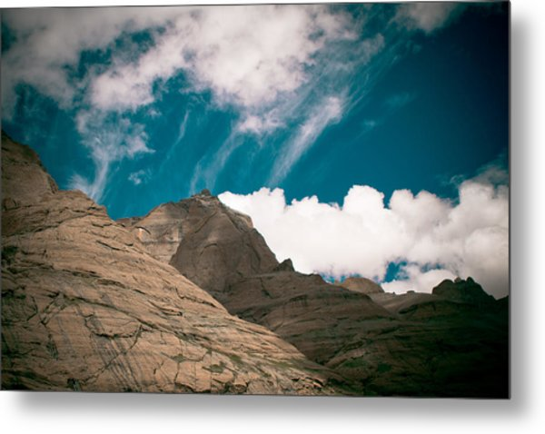 Himalyas Mountains In Tibet With Clouds Metal Print